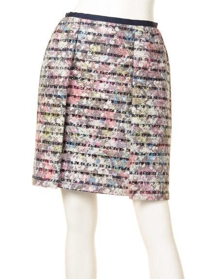 ボーダーレースプリントスカート