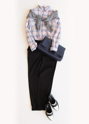 チェックシャツ×パンツ