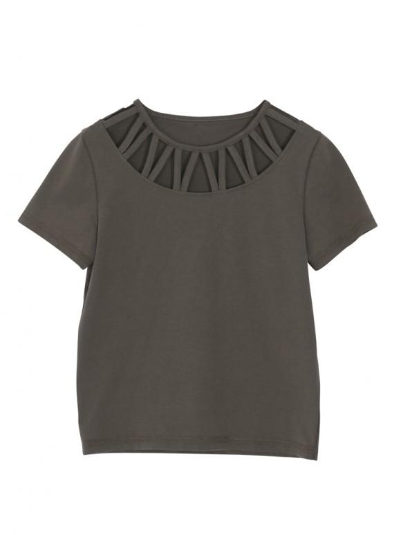 EVRIS (エヴリス) カットラウンドTシャツ