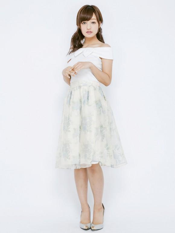 ブーケ花柄オーガンジースカート