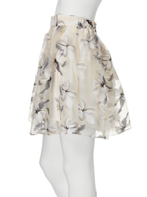 ストライプ花柄オーガンジースカート
