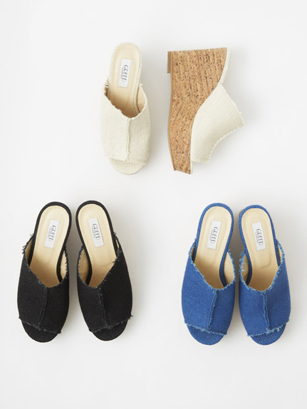 GREED JUTE WEDGE SHOES
