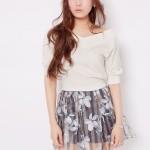 dazzlin(ダズリン)ストライプ花柄オーガンジースカート
