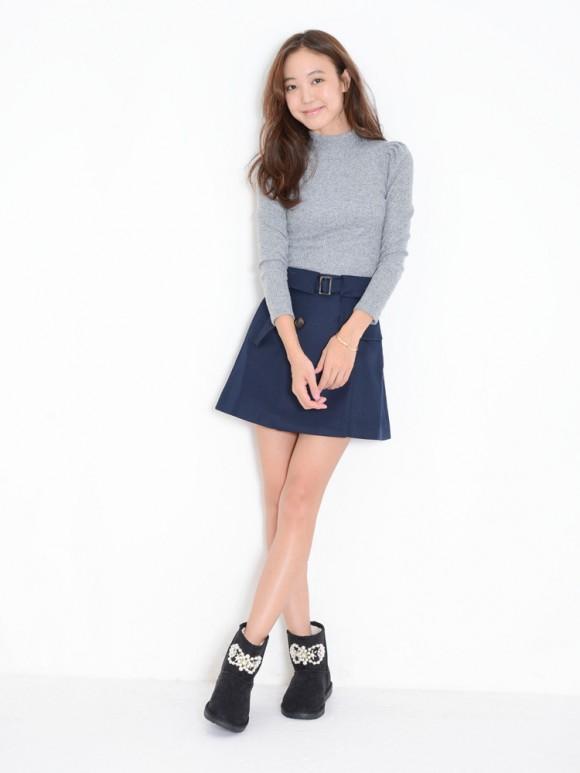 dazzlinトレンチ風台形スカート