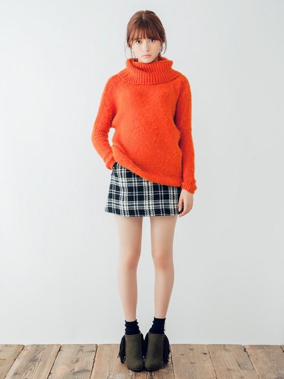 ダズリン ウールチェック台形スカート