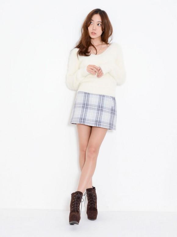 ダズリン ウールチェック台形スカート2