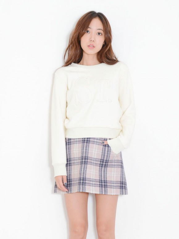 ダズリン ウールチェック台形スカート3