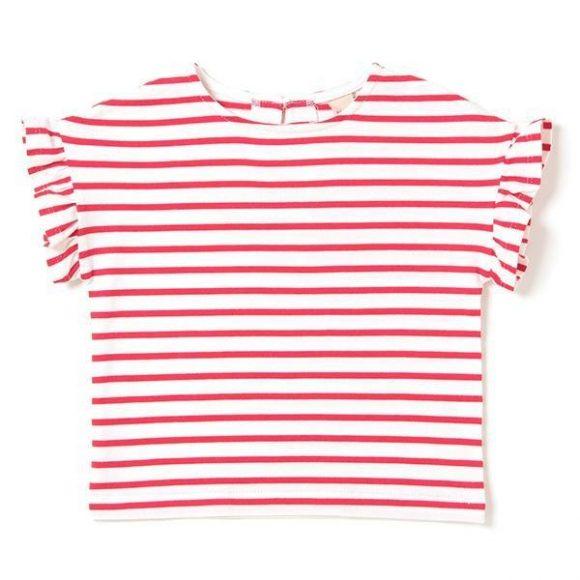 袖フリルつきボーダー柄Tシャツ